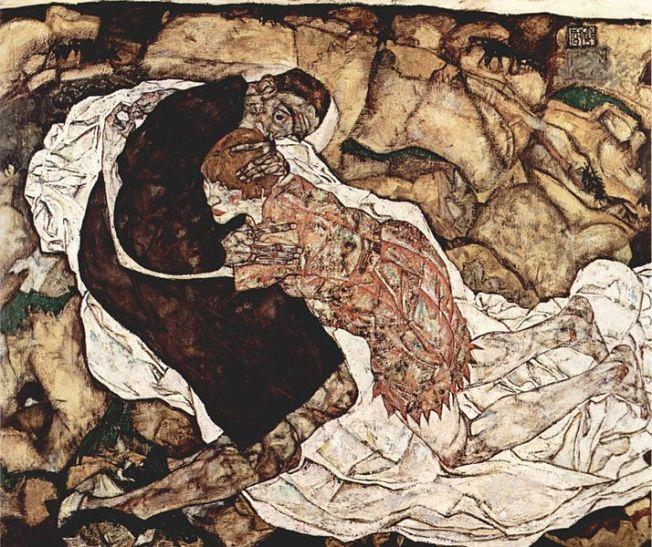 Egon Schiele - La muchacha y la muerte (Egon y Wally), 1915