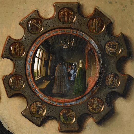 El  matrimonio Arnolfini, detalle espejo