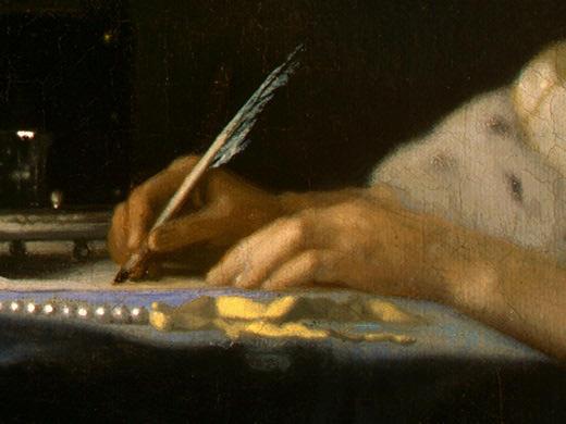 Vermeer- Una mujer escribiendo (detalle)_1655
