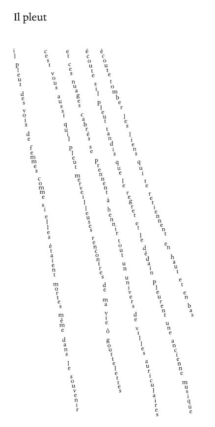Calligrama Il pleut (Apollinaire)