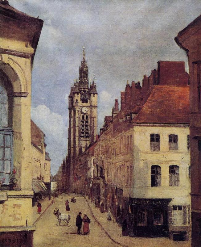 Jean-Baptiste Camille COROT- Le beffroi de Douai (1871)