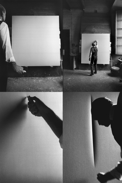 Ugo Mulas - secuencia de Lucio Fontana en su estudio (1964)