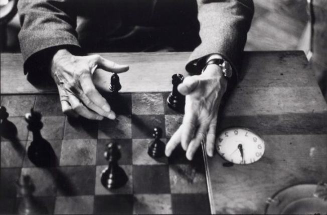 Marcel Duchamp's hands, New York City, 1959-60