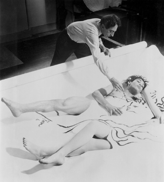 Philippe Halsman- Jean Cocteau's Painting Comes to Life,  with model Leo Coleman (1949)