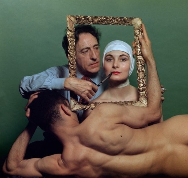 Philippe Halsman- French poet, artist and filmmaker Jean Cocteau with American actress Ricki Soma and American dancer Leo Coleman. (New York City), 1949