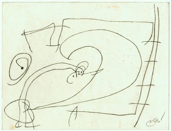 Joan Miró- Femme et oiseaux devant la lune , echelle de l´evasion (1980)