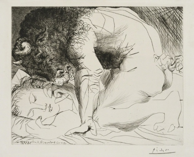 Pablo Picasso- Minotaure caressant du Mufle la Main d'une Dormeuse, from the Suite Vollard, 1933-1934