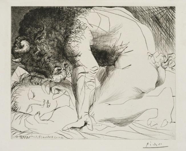 Pablo Picasso- Minotaure caressant du Mufle la Main d'une Dormeuse, from the Suite Vollard, 1933-1934