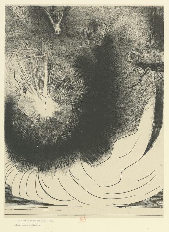 Odilon Redon - Apocalypse de Saint-Jean, Et il tombe du ciel une grande etoile ardente comme un flambeau (1899)