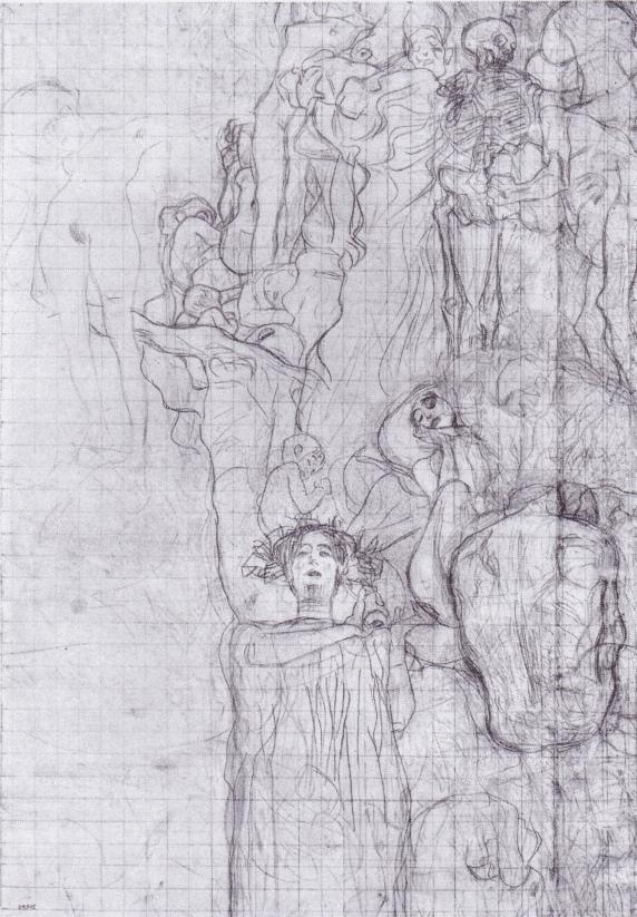 Gustav Klimt - Estudio para el para el techo del Aula Magna de la Universidad de Viena (Medicina)