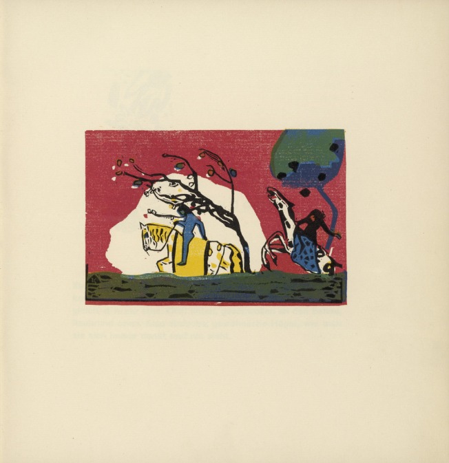 Vasily Kandinsky - Zwei Reiter vor Rot, Two Riders Before Red (1913)