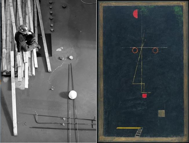George Valdez (Random photo, nothing staged and no cropping) // Paul Klee (Portrait of an Equilibrist, 1927)